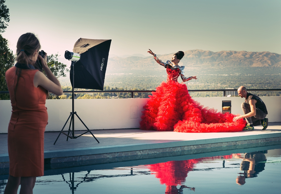 Miss Aniela / Leonid Gurevich Red Dress LA shoot