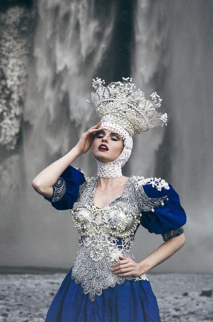 Model: Grace Gray Dress & headpiece: Agnieszka Osipa Stylist: Minna Attala Hair & makeup: Grace Gray Producer: Miss Aniela